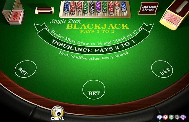 Blackjack med enkeltkortstokk